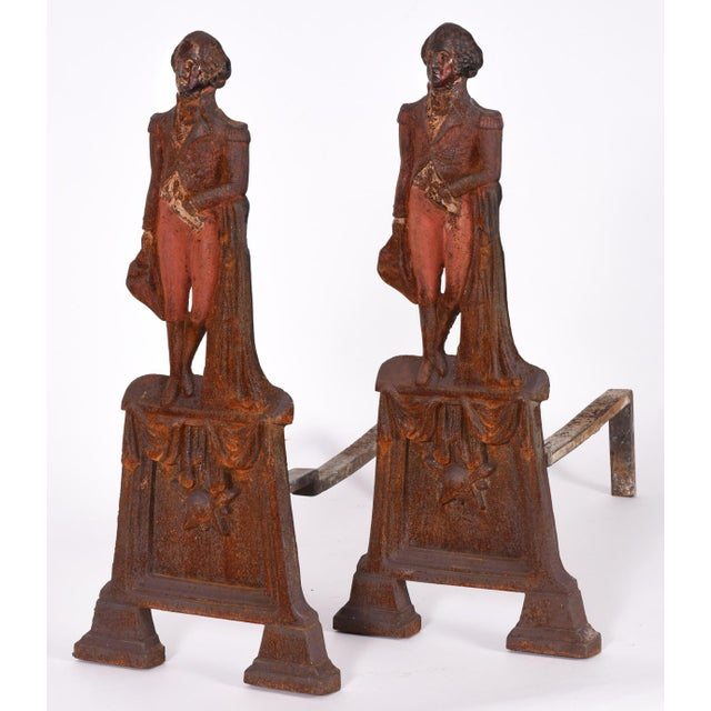 Traditional Pair of Mid-20th Century George Washington Andirons For Sale - Image 3 of 8