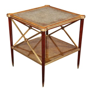Theodore Alexander Directoire Style Mahogany & Bronze Eglimsoe Mirrored Table For Sale