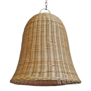 Raw Wicker Bell Pendant Medium For Sale