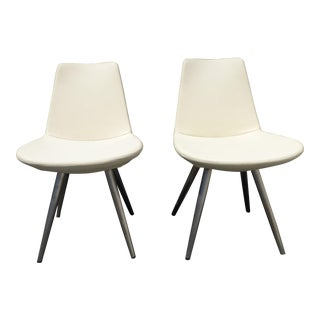 Vintage Contemporary Style White Vinyl Accent Chairs W Metal Peg Legs Italy For Sale