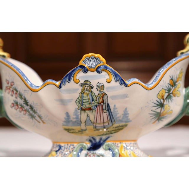 19th Century French Hand Painted Faience Oval Jardinière Signed Henriot Quimper For Sale In Dallas - Image 6 of 11