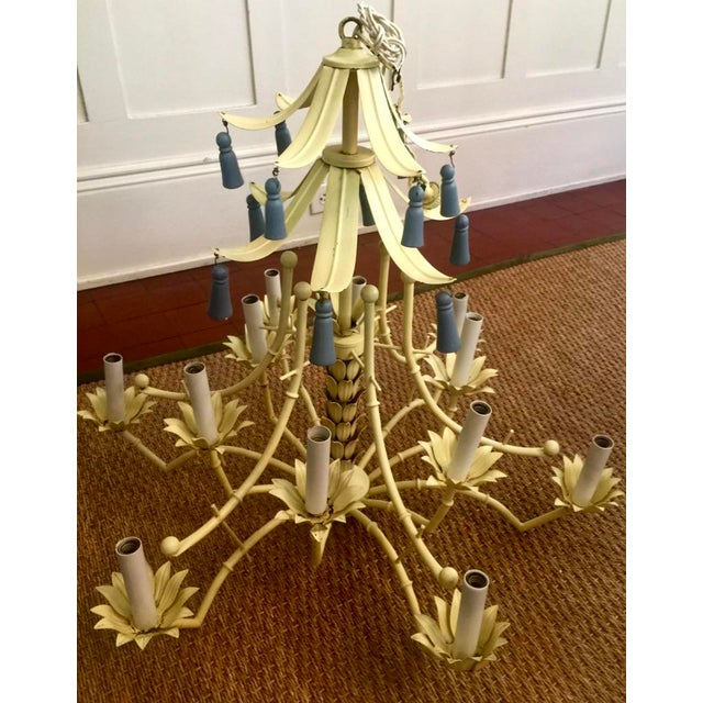 Light Yellow Hollywood Regency Pagoda Style Chandelier With Blue Tassels and Floral Details For Sale In New Orleans - Image 6 of 6