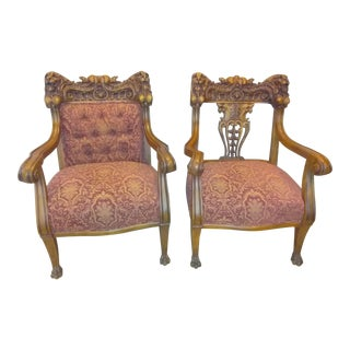 Gothic Oak Throne Chairs - a Pair
