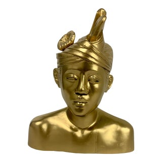 Gilded Gold Finished Sculptural Bust of Balinese Prince For Sale