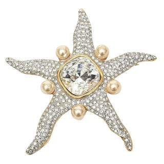 Valentino Signed Faux Pearl Glass Rhinestone Starfish Pin For Sale