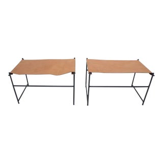 Leather & Iron Benches- A Pair For Sale