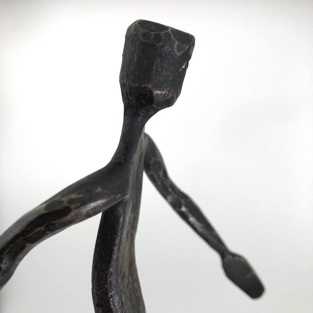 Iron Running Man Welded Steel Sculpture With Candle Holder For Sale - Image 7 of 13