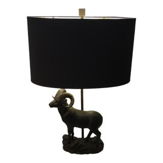 Currey & Co. Transitional Cabra Bronze Metal Ram Table Lamp With Shade For Sale