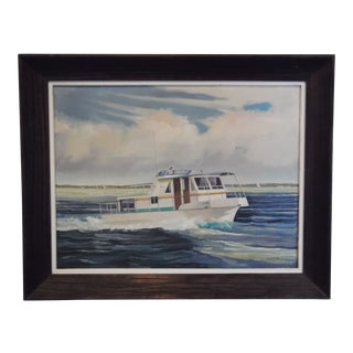 Vintage Mid-Century Tollycraft Yacht Oil on Canvas Nautical Painting For Sale
