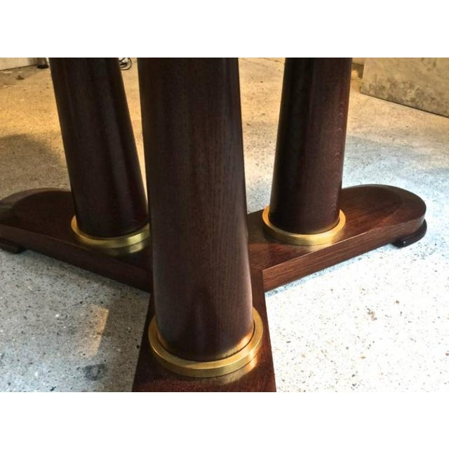"""Jean Royère genuine Tripod Round Dinning Table with Tri-Pedestal Base including two leaves each leaf is 20"""" (52cm) long..."""