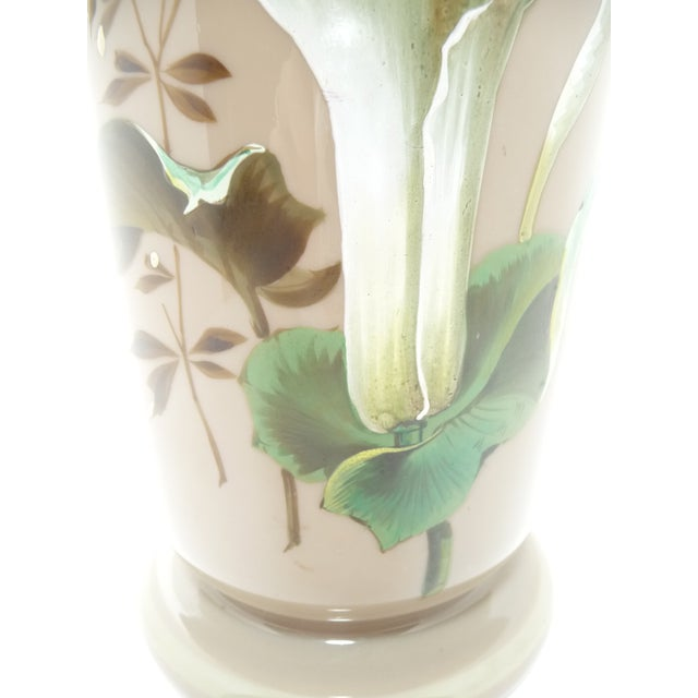 Antique European Hand Painted Art Glass Vase Taupe W Calla Lily For Sale - Image 4 of 7