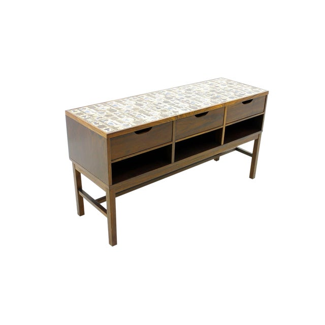 Severin Hansen Cabinet, Console With Ceramic Top, Haslev Denmark For Sale