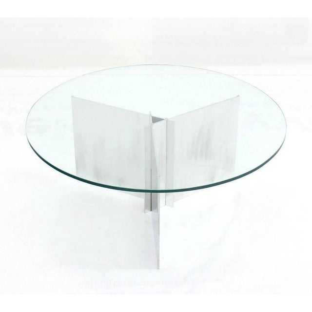 Contemporary Paul Mayen for Habitat Round Glass Topped Triangular Based Coffee Table For Sale - Image 3 of 7