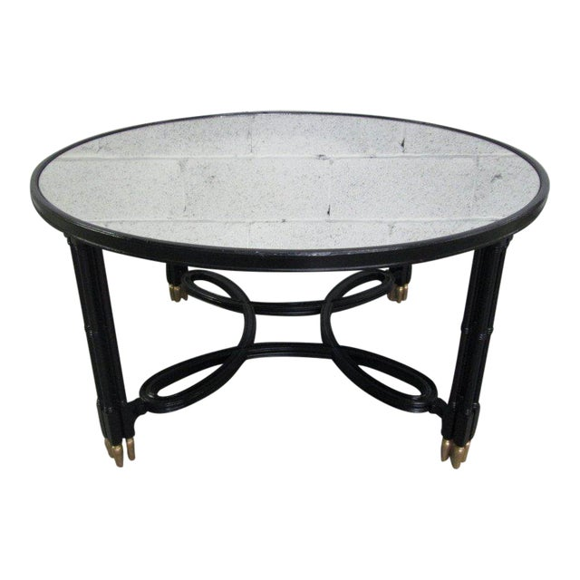 Maison Jansen Style Mirrored Top Coffee Table For Sale