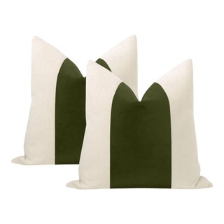 """22"""" Olive Italian Velvet Panel & Linen Pillows - a Pair For Sale"""