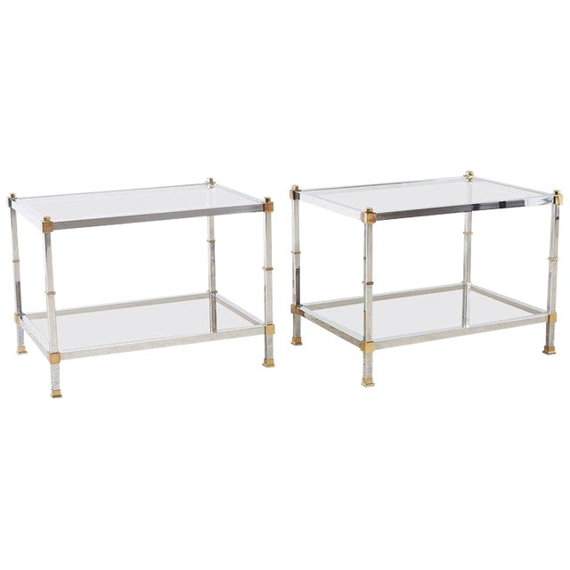 Pair of Maison Jansen Style Chrome and Brass Tables For Sale