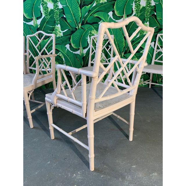 1960s Chinese Chippendale Faux Bamboo Dining Chairs - Set of 6 For Sale - Image 5 of 9