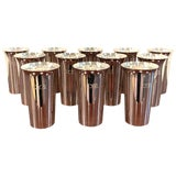 Image of 12 Italian Modern .950 Silver Mint Julep Cups For Sale