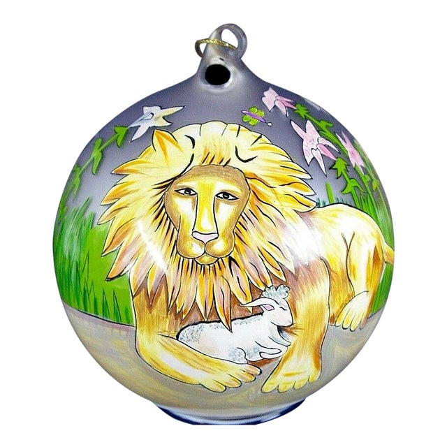 "Sacred Season Holiday Hand Painted ""Lion & Lamb"" Ornament Christmas Easter For Sale"
