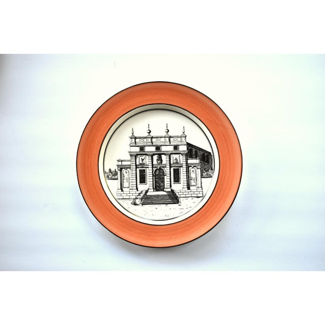Vintage Italian Mottahedeh Creil Creamware Neoclassical Palazzo Architecture Small Plates With Coral Border - Set of 4 For Sale - Image 10 of 11