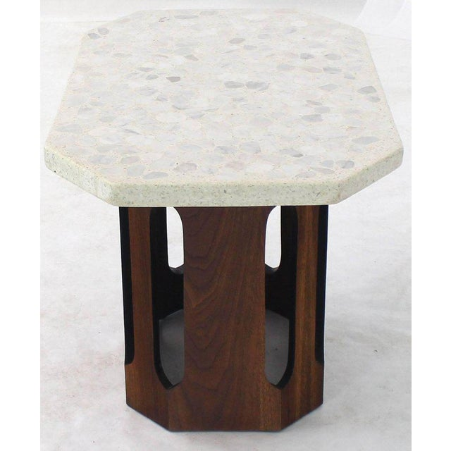 Mid 20th Century Oiled Walnut Base Terrazzo Top Side Table For Sale - Image 5 of 10
