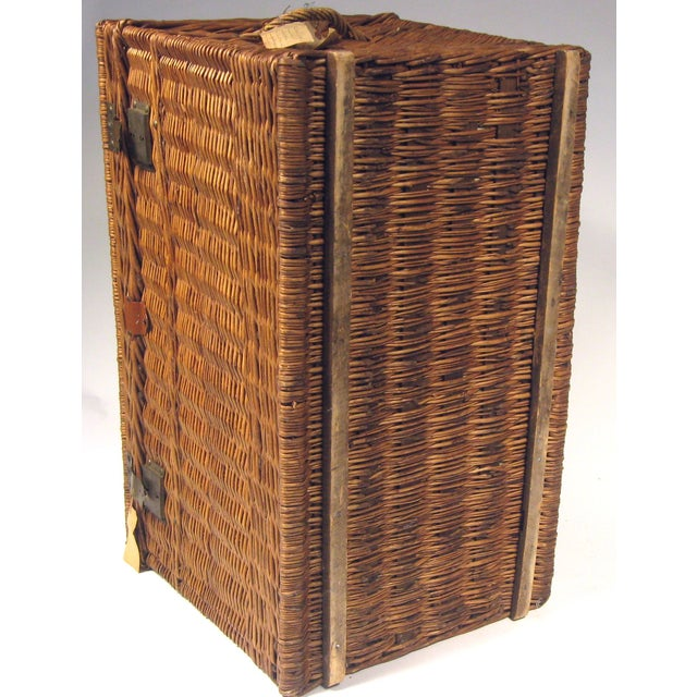 Large Antique French Wicker Trunk - Image 6 of 6