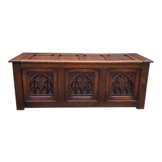 Antique French Trunk/Blanket Box with Gothic Shields For Sale