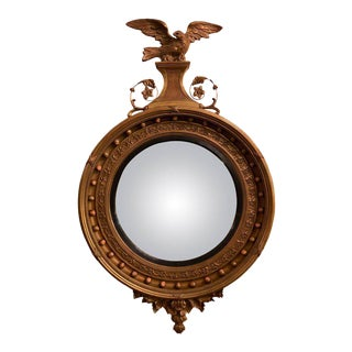 A Federal Style Gilt Gold Convex Mirror Adorning A Carved Eagle
