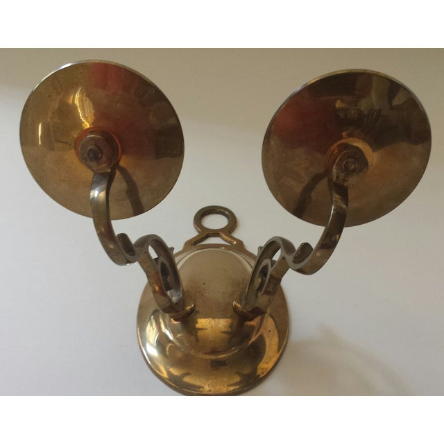 Vintage 2 Candle Brass Sconce For Sale In Phoenix - Image 6 of 9