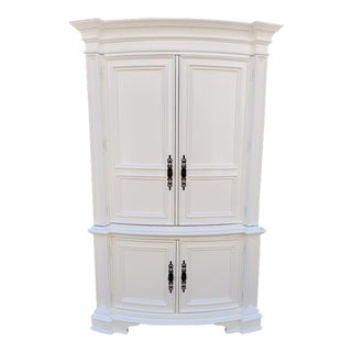 Vintage White Distressed Armoire For Sale