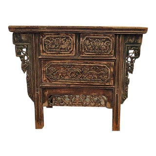 Carved Three Drawers Chinese Antique Cabinet