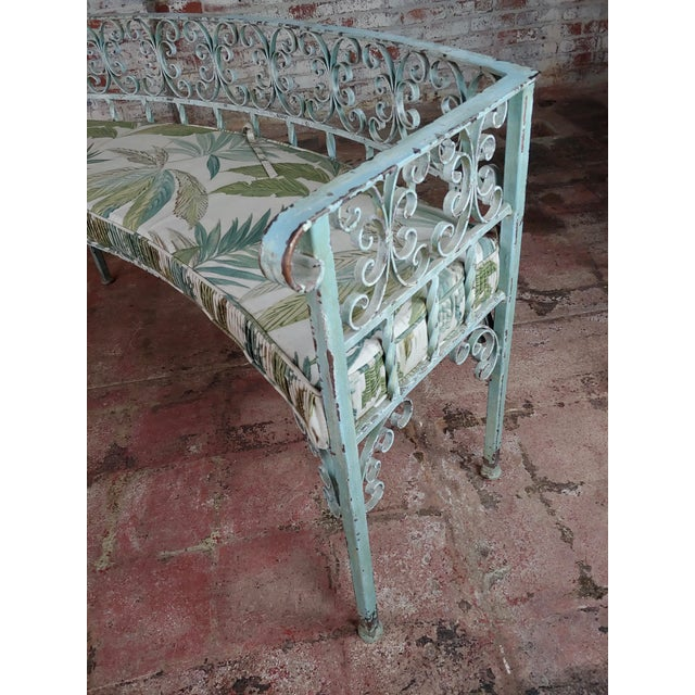 Art Nouveau Antique Cast Iron Patio & Garden Settee & 2 Chairs Set For Sale - Image 9 of 10