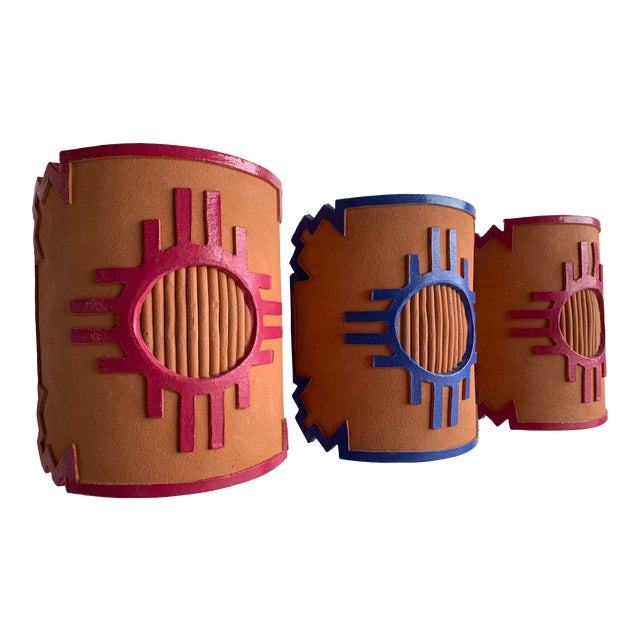 1980s Southwest Taos Terra Cotta Sconce Covers - Set of 3 For Sale