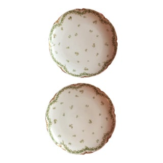 Limoge Green and White Dessert Plates - A Pair