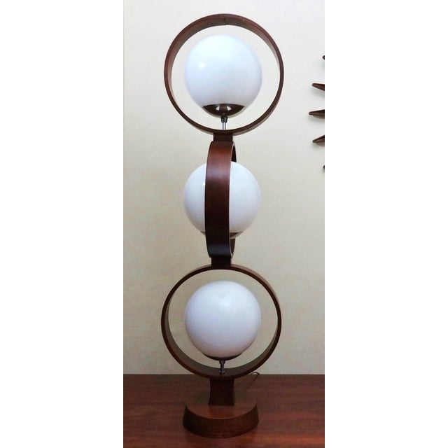 Mid Century Modern Modeline Walnut 3 Tier Lamp - Image 3 of 7