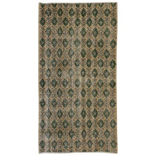 Industrial Art Deco Style Zeki Muren Distressed Sivas Accent Rug - 3′3″ × 6′1″ For Sale