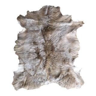 Modern Brown Angora Goatskin Throw - 2′5″ × 3′3″ For Sale