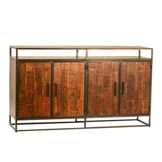 Modern Acacia Wood & Iron Sideboard