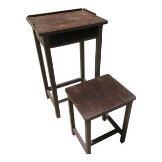 1940s Victorian Desk & Seat - A Pair For Sale