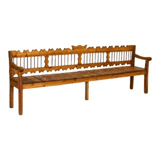 Antique Primitive 8' Long Pine Bench From Hungary For Sale