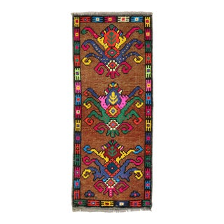 Bright Eclectic Vintage Turkish Mini Rug, 1'3'' X 3' For Sale