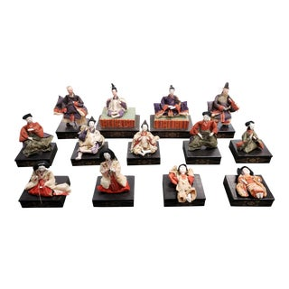 1920s Japanese Imperial Court Hina Dolls - Set of 13 For Sale