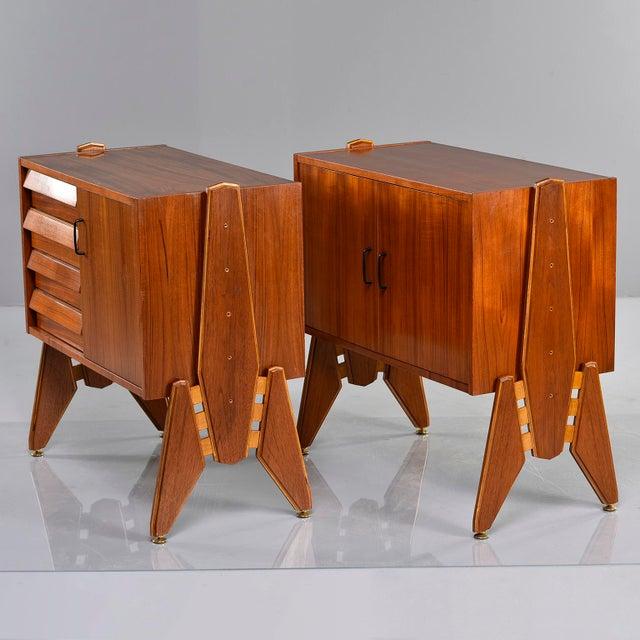 Teak Pair Mid Century Italian Adjustable Height Teak Side Cabinets For Sale - Image 7 of 13