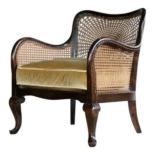 Danish Art Deco Caned Library Bergere Chair in Stained Birch For Sale