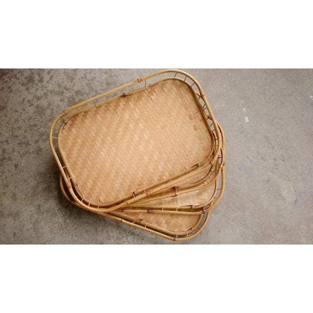 Bamboo & Wicker Serving Trays - Set of 4 - Image 2 of 3