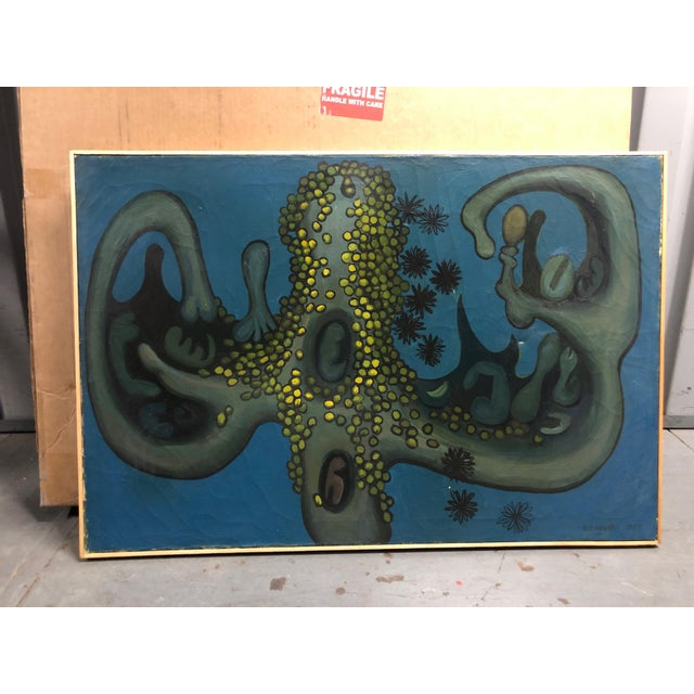 Abstract 1959 Nyc Artist Gj Rogers Surrealist Original Vintage Painting For Sale - Image 3 of 7