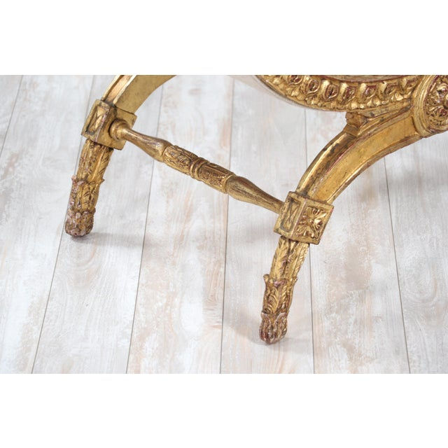 Italian Vintage Neoclassical Giltwood Bench For Sale In Los Angeles - Image 6 of 9