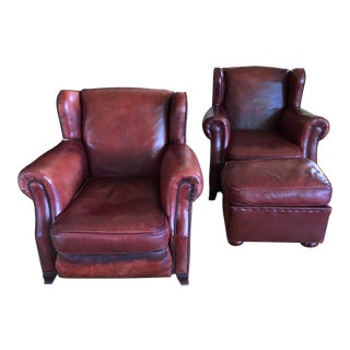 Custom Distressed Leather Armchairs & Ottoman - Set of 3 For Sale