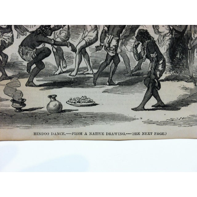 """English 1857 Antique Illustrated London News """"Hindoo Dance"""" Print For Sale - Image 3 of 5"""