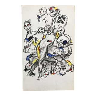 1950s Vintage Grotesque Gouache and Ink Figure Study For Sale